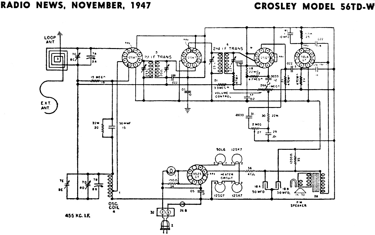 crosley model 56td w schematic parts list november 1947