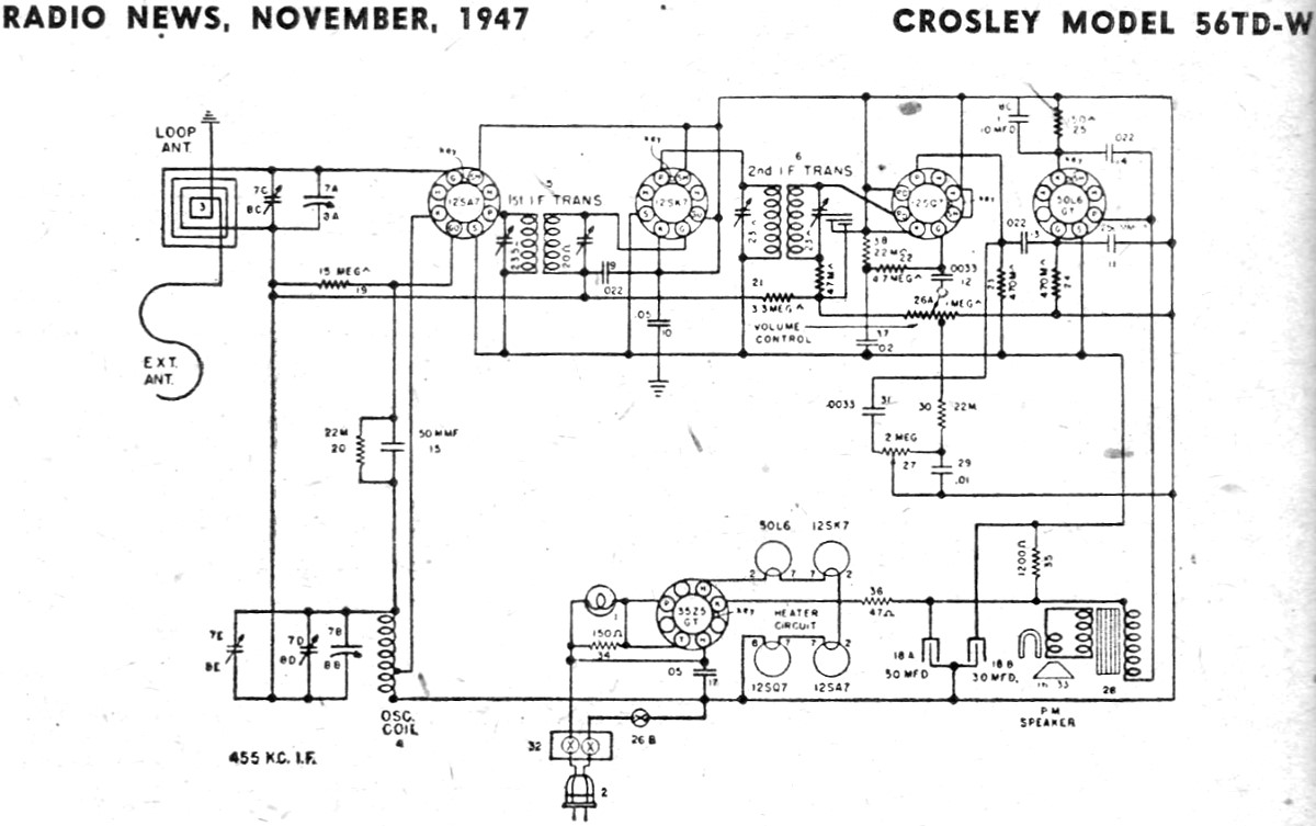crosley model 56td w schematic & parts list, november 1947 radio  1934 chevy wiring diagram schematic