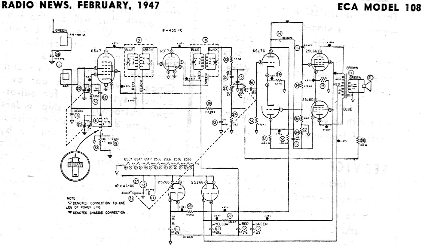 ECA Model 108 Schematic & Parts List, February 1947 Radio News - RF Cafe