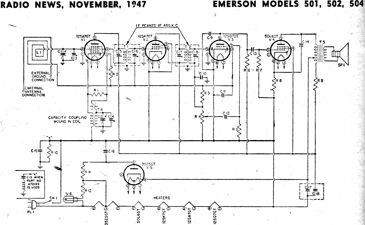 Emerson Models 501  502  504 Schematic  U0026 Parts List  November 1947 Radio News