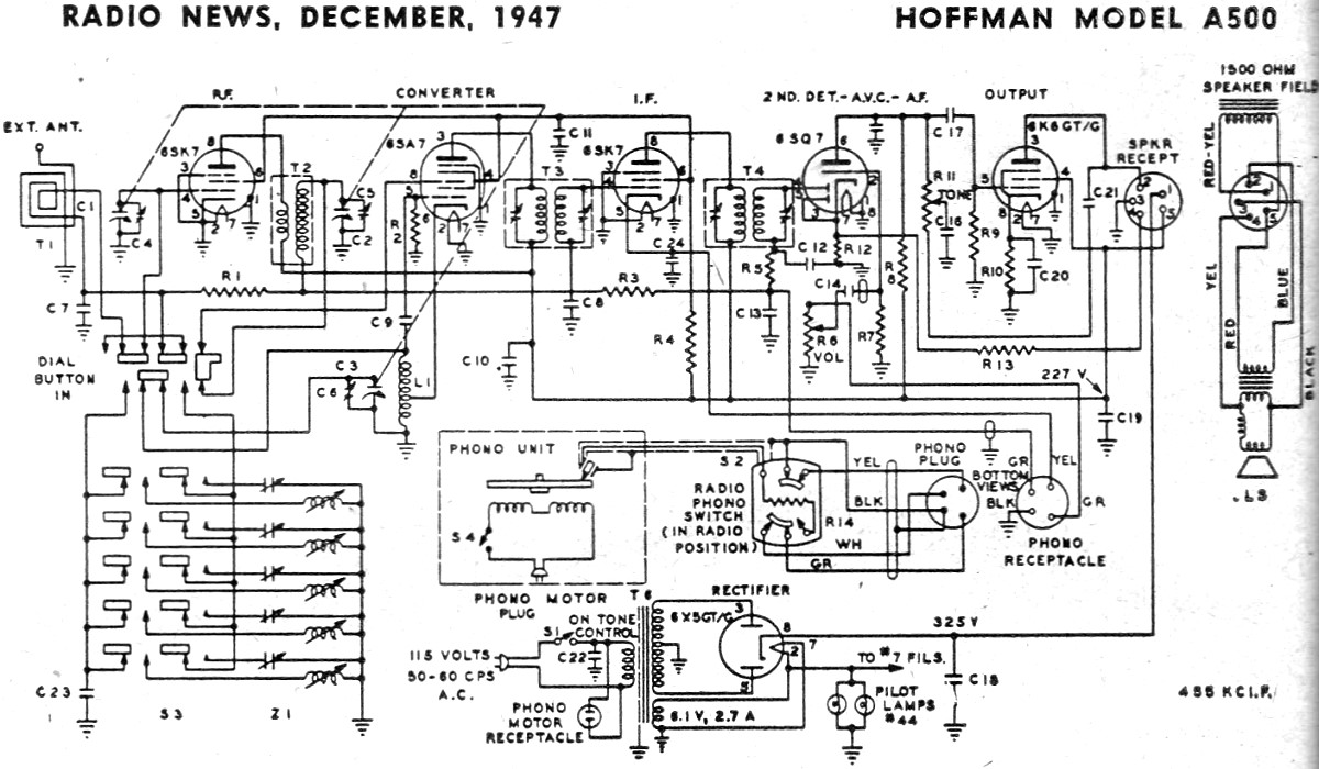 Hoffman Model A500 Schematic & Parts List, December 1947 Radio News ...