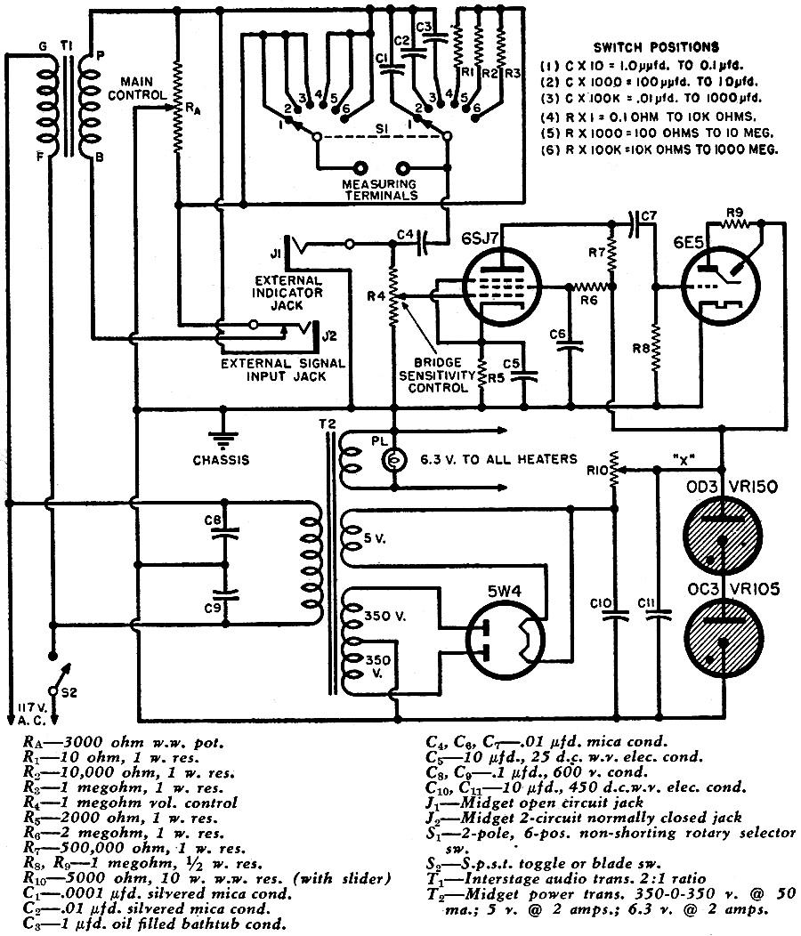 Build This Radiomans R C Bridge April 1947 Radio News Rf Cafe Rc And Oscillator Circuit Oscillatorcircuit Schematic Diagram Of