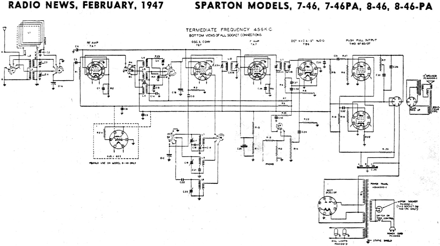 1970 ford mustang alternator wiring diagram sparton models 7 46  7 46pa  8 46  8 46pa schematic  sparton models 7 46  7 46pa  8 46  8 46pa schematic
