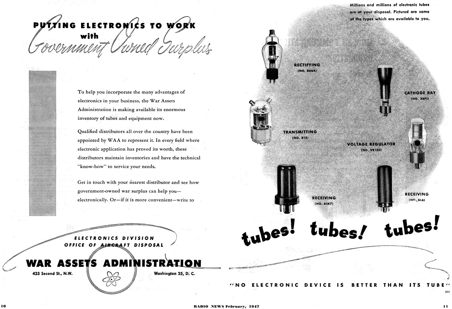 War Assets Administration Advertisement, February 1947 Radio