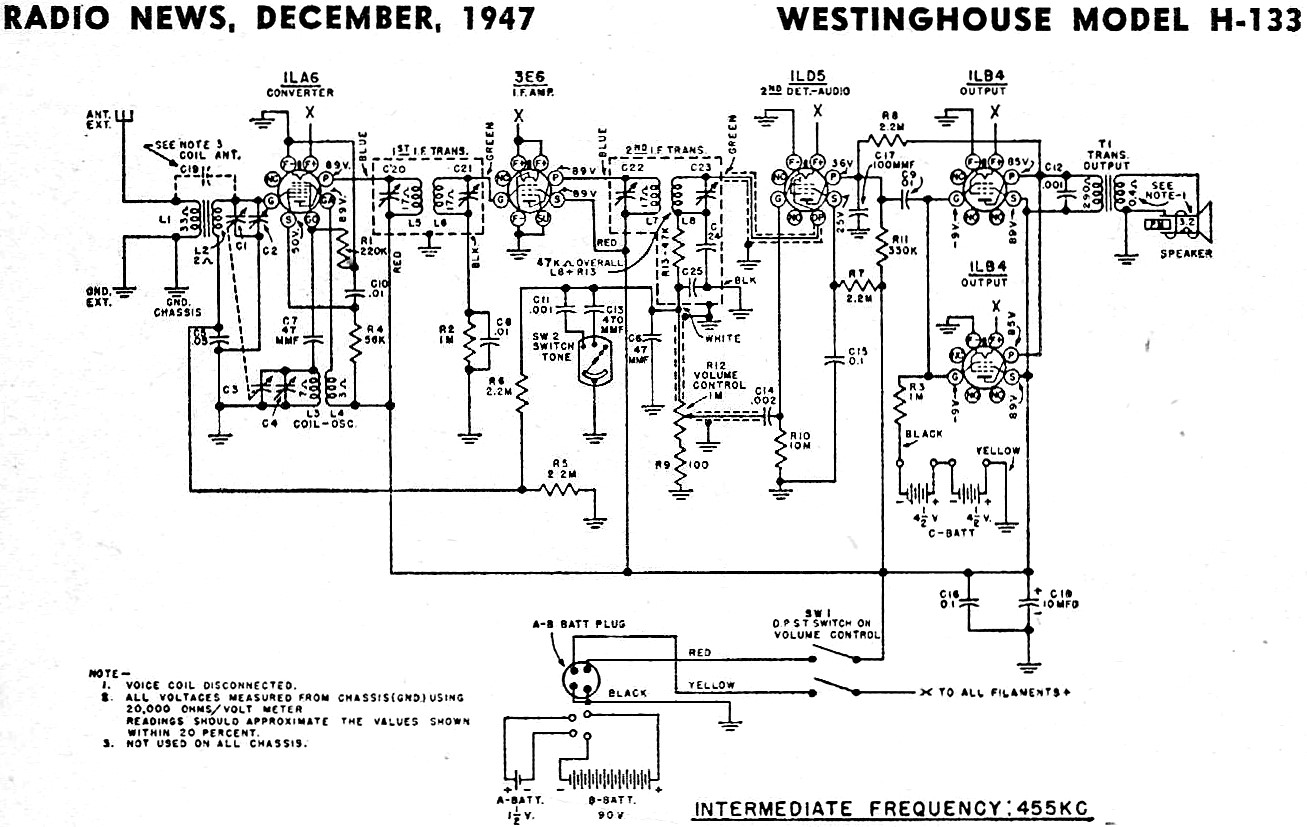 westinghouse model h-133 schematic  u0026 parts list  december 1947 radio news