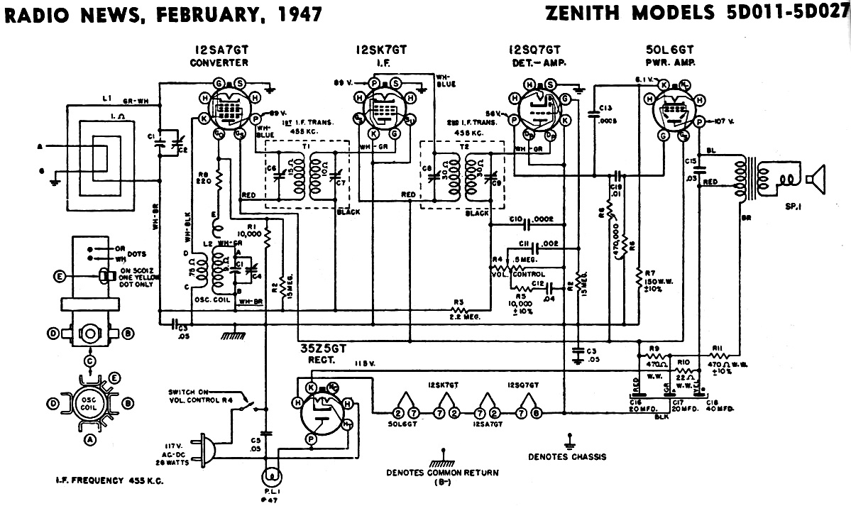 zenith models 5d011 5d027 schematic & parts list, february 1947 antique radio schematic diagrams at Radio Schematic Diagrams
