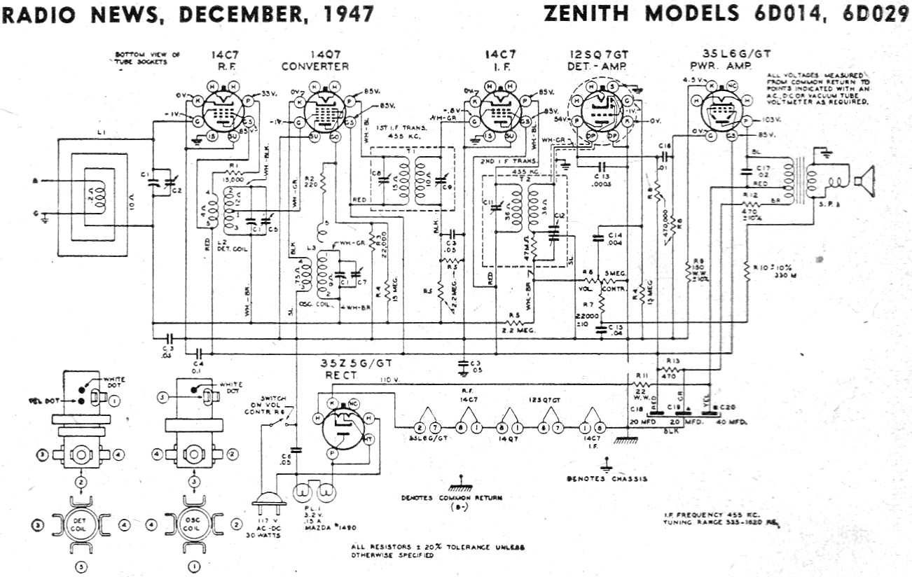 zenith models 6d014  6d029 schematic  u0026 parts list