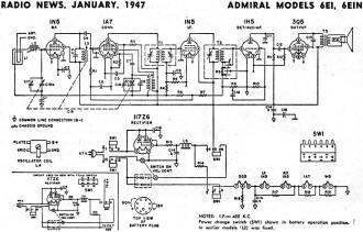 sams schematics with Admiral Models 6ei 6ein Radio News January 1947 on Philco 22d4160x tv 390 furthermore Sparton Model 526 Radio News April 1947 besides Coro  Model C 2 Radio News February 1947 likewise Admiral 7t06 7t12 September 1947 Radio News further Crescent Wire Recorder Schematic.