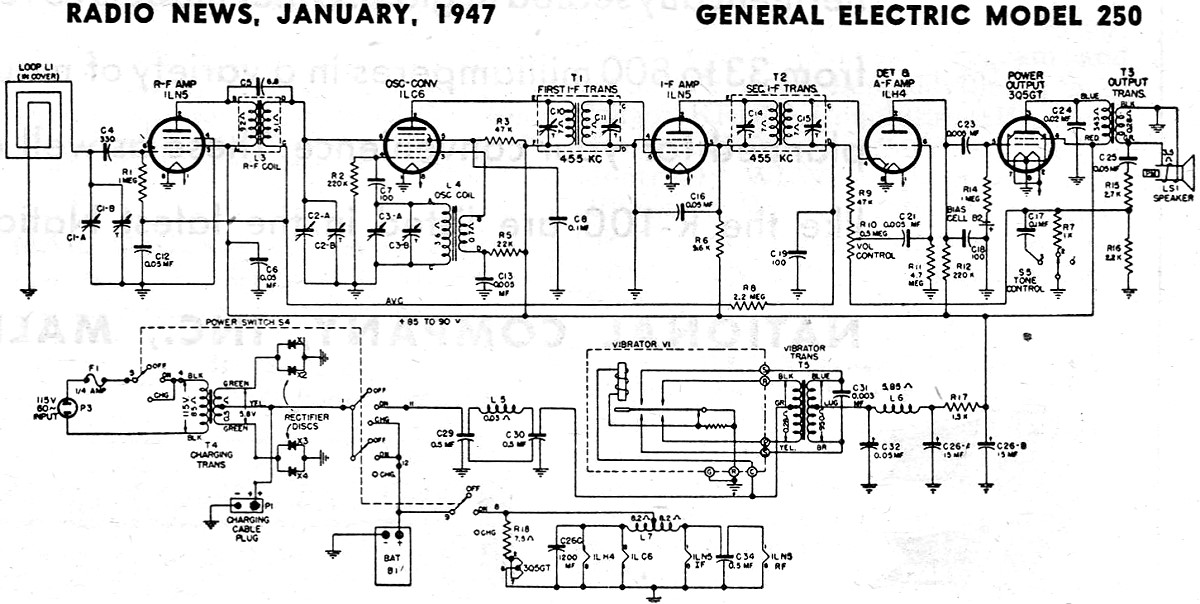 General Electric Model 250 Schematic  U0026 Parts List