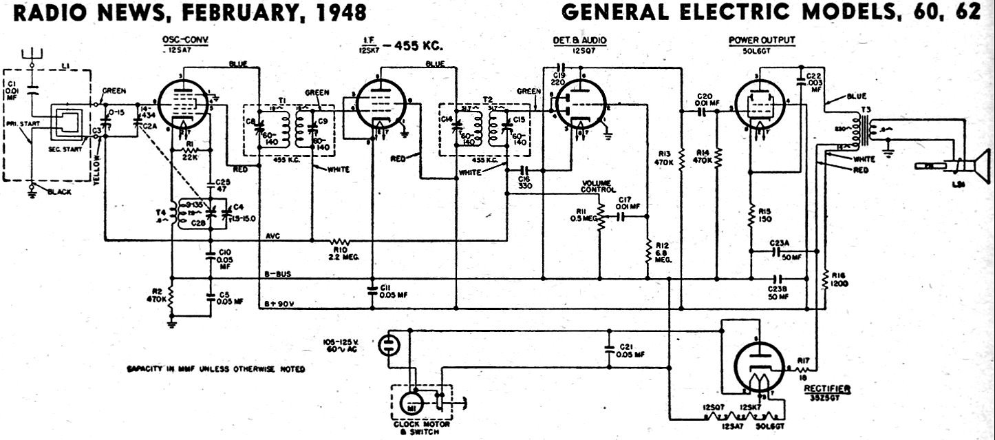 General Electric Models 60 62 Radio News February 1948 on vintage radio schematics