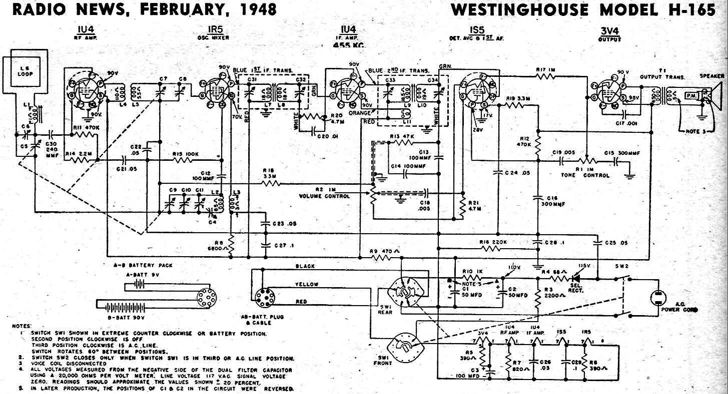 Westinghouse Model H-165 Schematic & Parts List, February