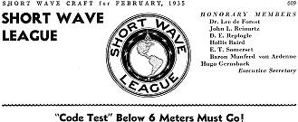 Short Wave League: Code Test Below 6 Meter Must Go