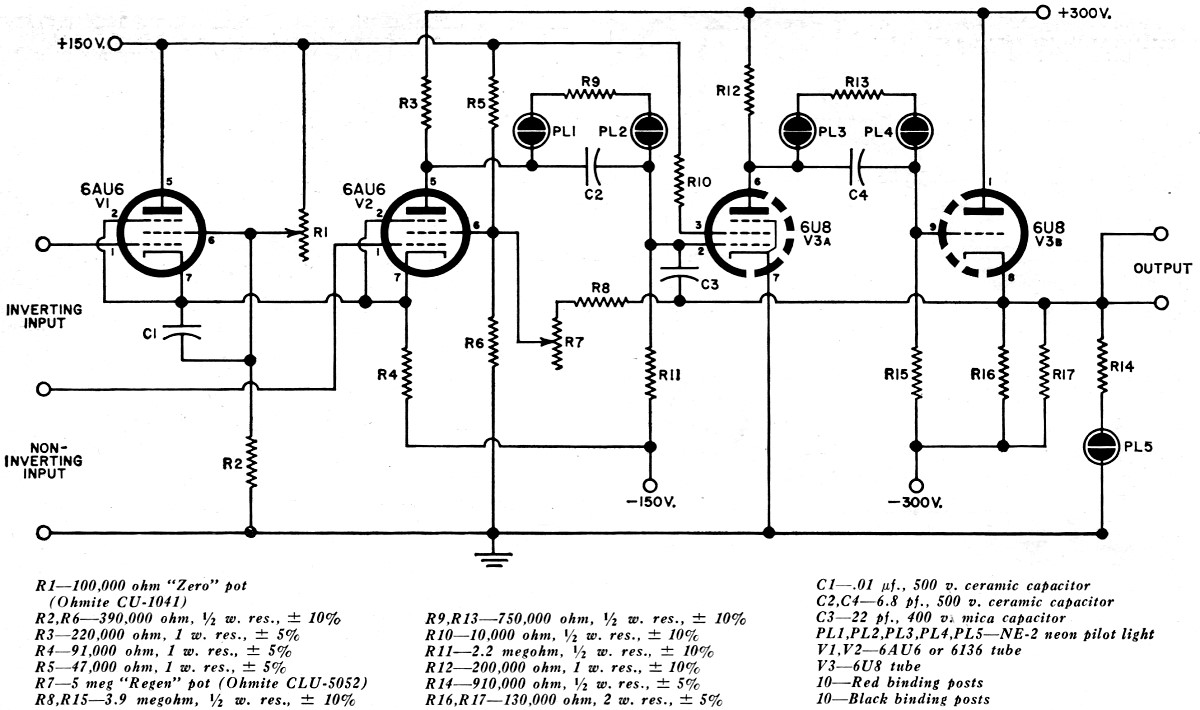 The Operational Amplifier July 1963 Electronics World Rf Cafe Simple Op Amp Inverting Circuit Employing Negative Schematic Diagram Of One Two Identical Amplifiers