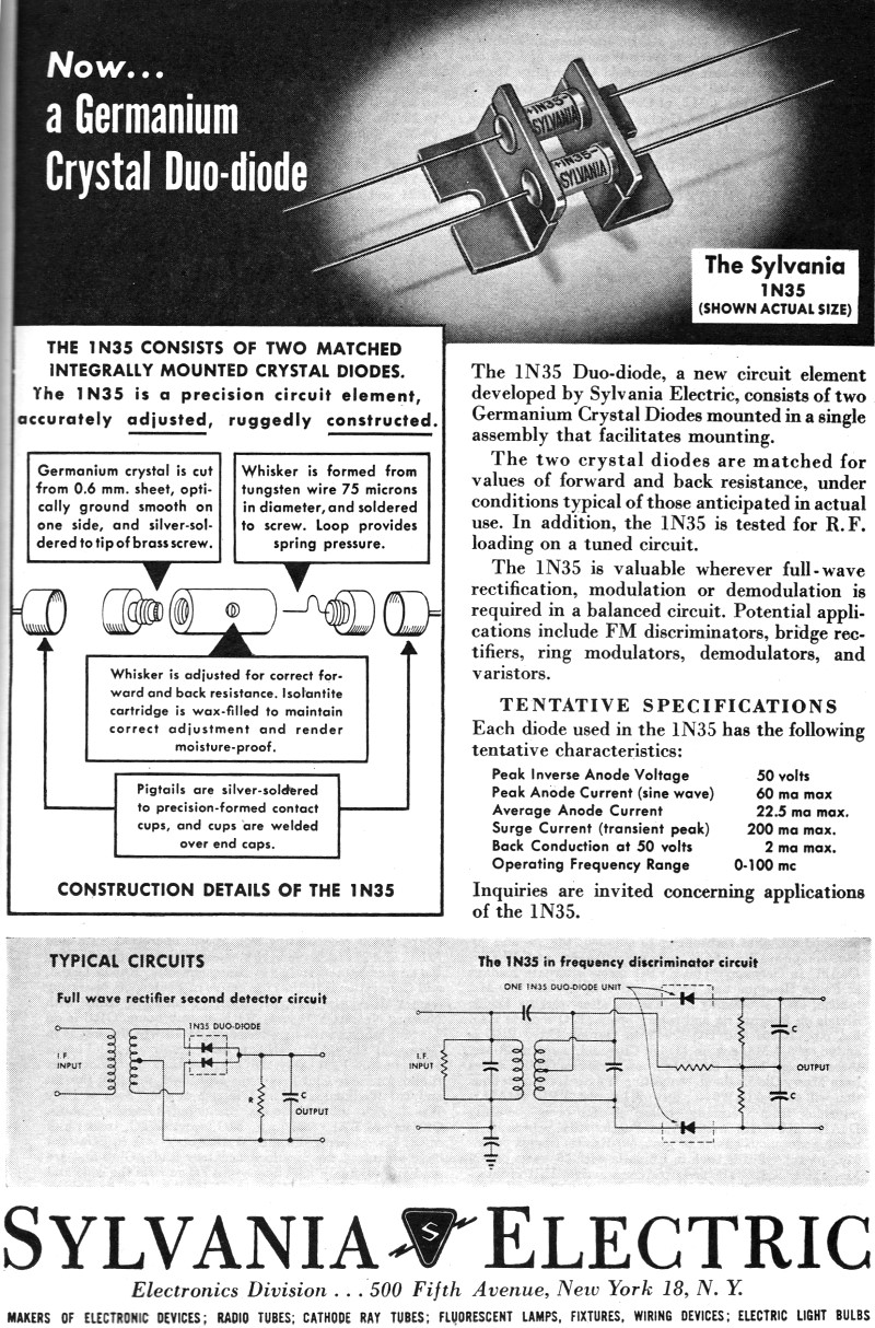 Sylvania Electric Duo Diode July 1946 Qst Rf Cafe Wiring A