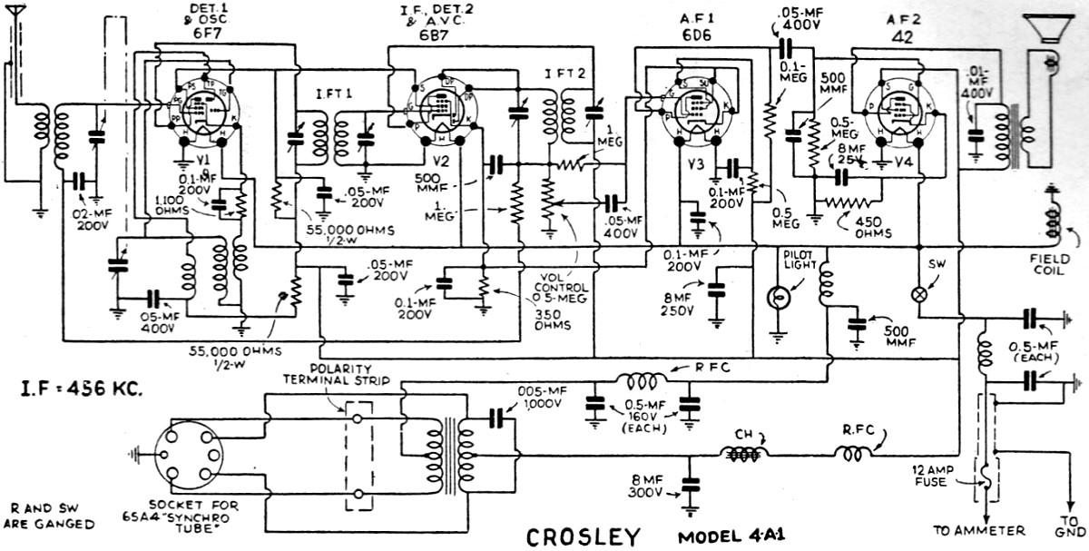 crosley roamio 4-a-1 radio schematic  june 1935 radio-craft