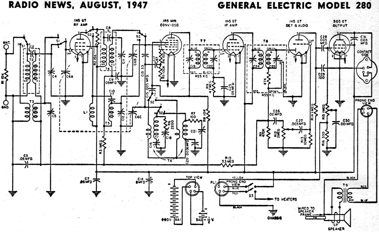 general electric model 280 schematic  u0026 parts list  august 1947 radio news
