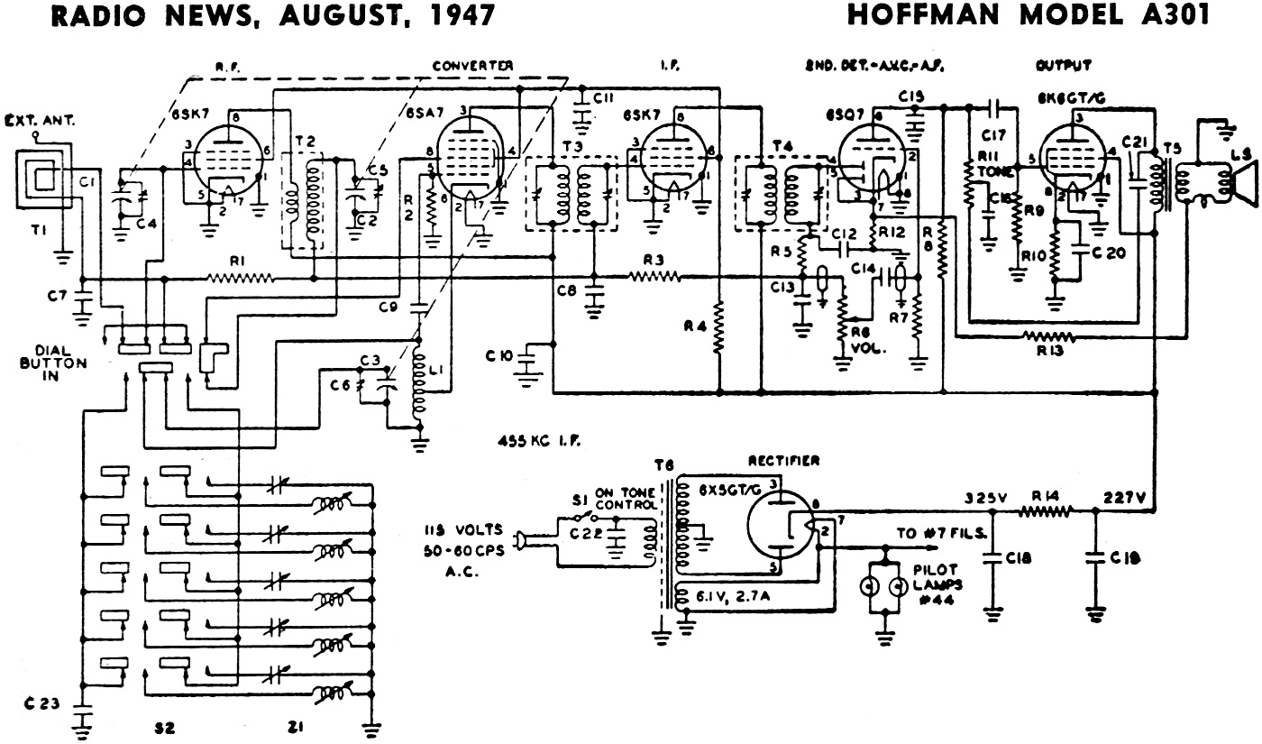 Radio Schematic Parts Diagram 29 Wiring Images Choccy Block Trf Hoffman A301 News Aug 1947 Model List August