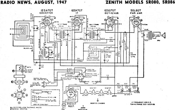 Zenith Models 5r080  5r086 Schematic  U0026 Parts List  August 1947 Radio News