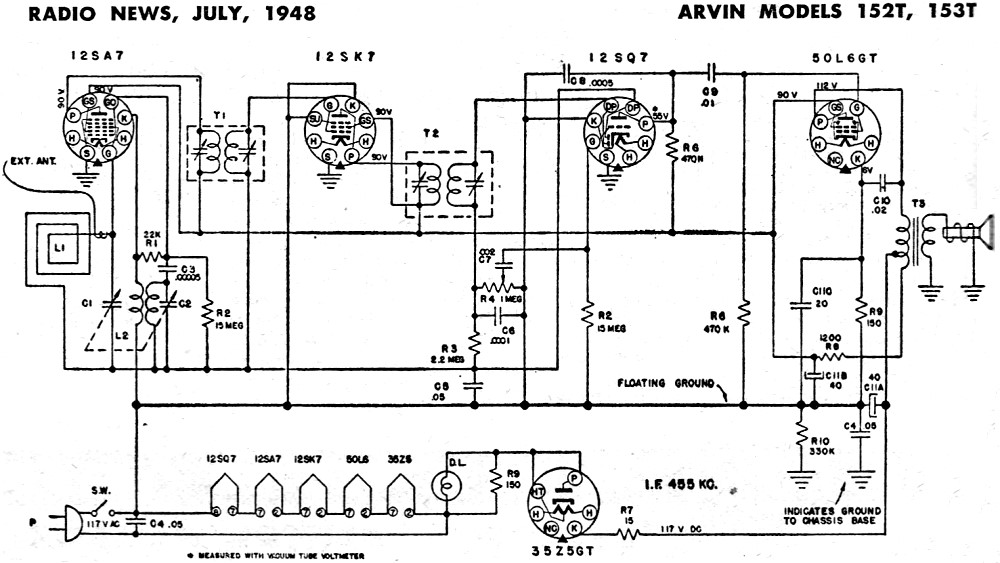 arvin models 152t  153t schematic  u0026 parts list  july 1948