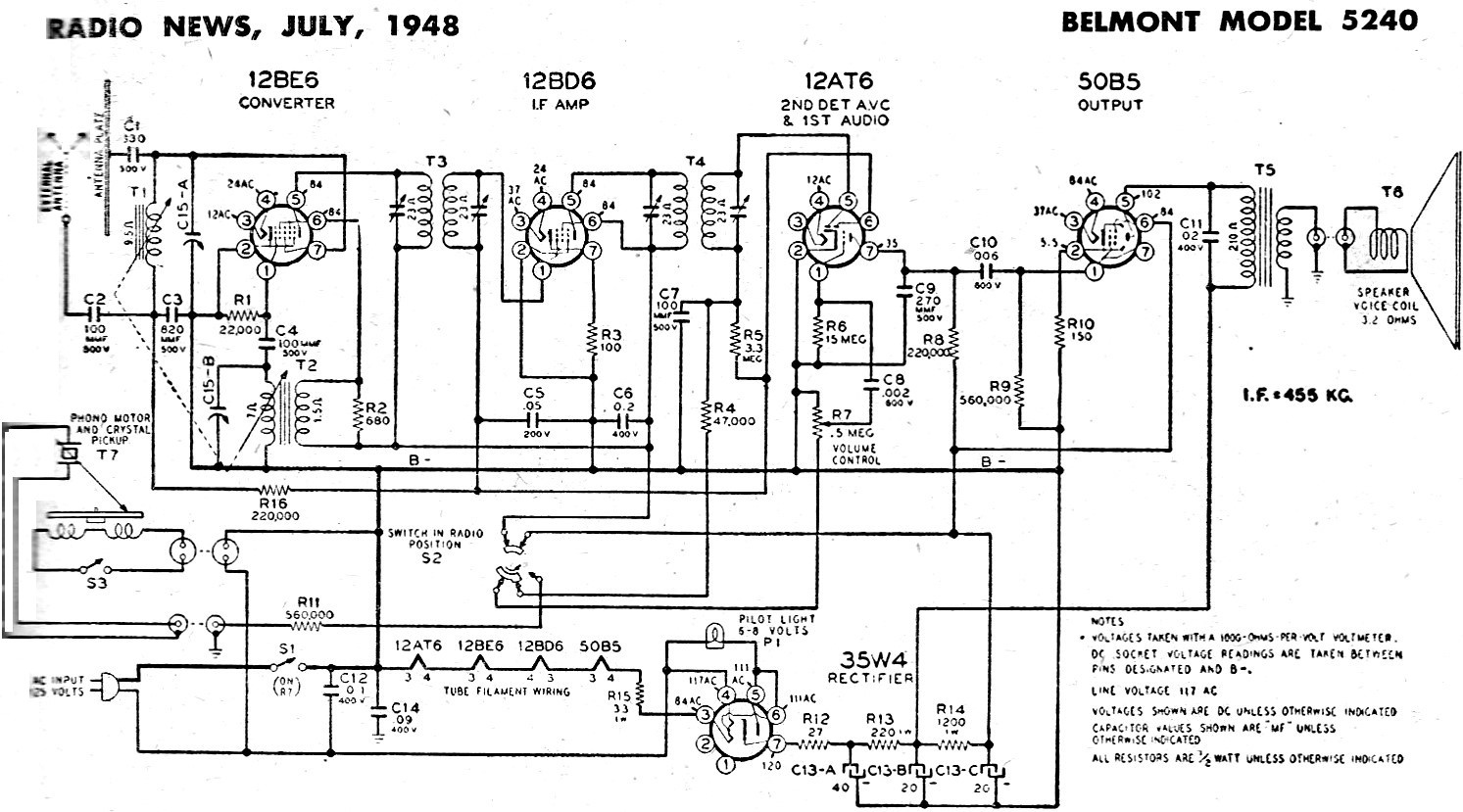 Belmont Model 5240 Schematic  U0026 Parts List  July 1948 Radio News