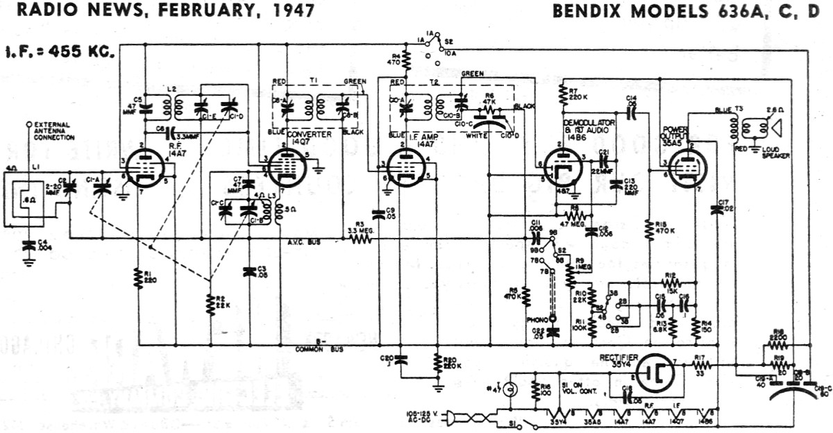 bendix models 636a  c  d schematic  u0026 parts list  february