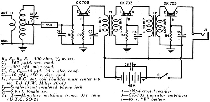 a crystal receiver with transistor amplifier  january 1950 radio  u0026 television news article