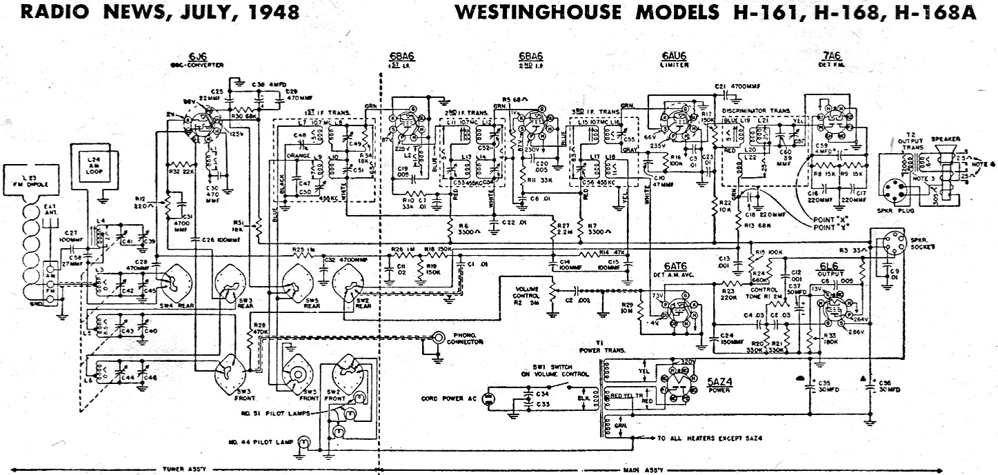 Westinghouse Tv Schematic Diagram Wiring Diagrams Radio Moreover Philco As Models H 161 168 168a July 1948 Circuit Ups