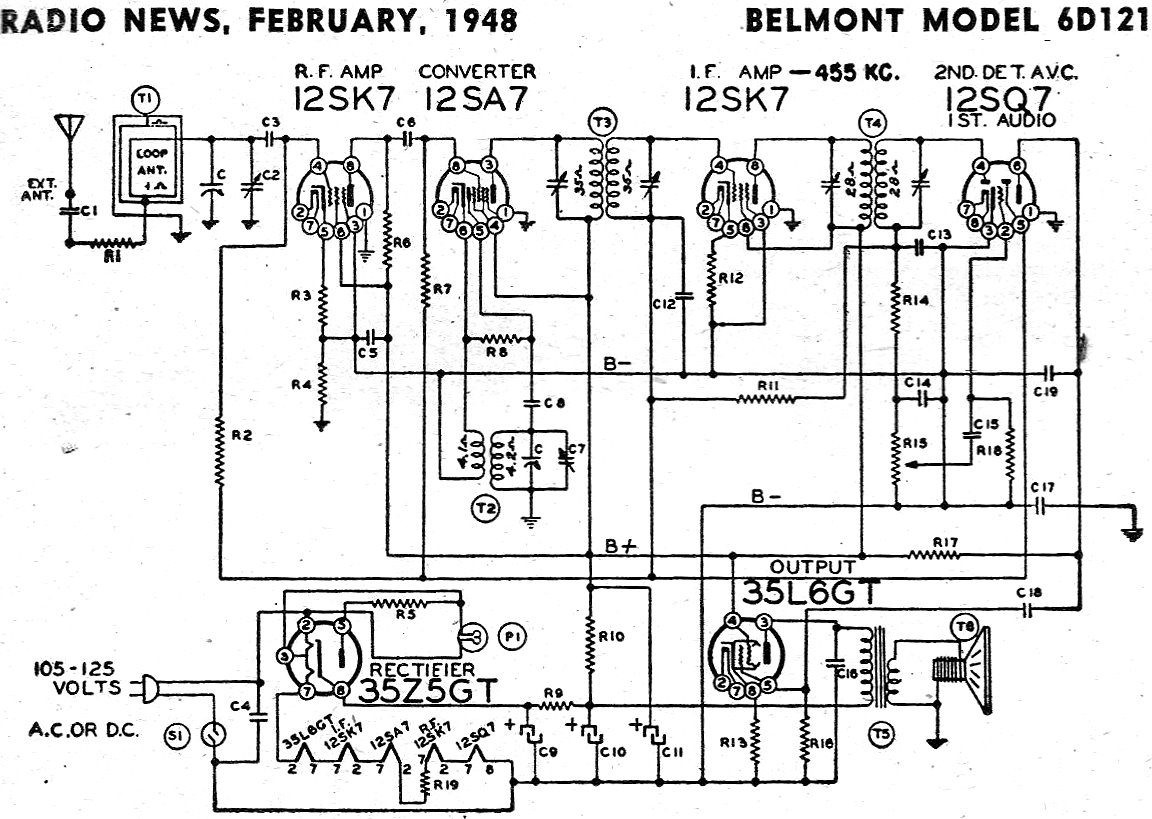 Belmont Model 6d121 Schematic  U0026 Parts List  February 1948 Radio News