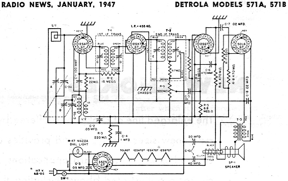 Detrola Models 571a  571b Schematic  U0026 Parts List Schematic